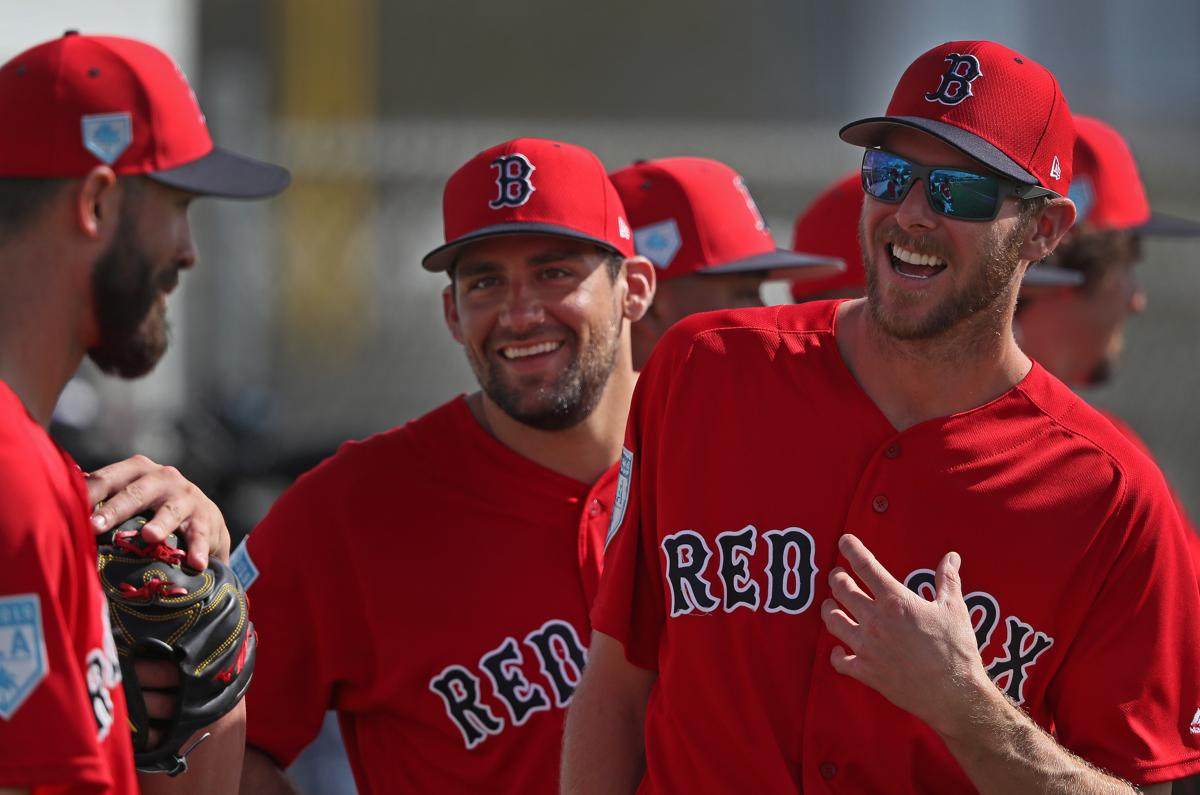Fort Myers, FL - 2/21/2019 - Boston Red Sox starting pitcher Rick Porcello (22), Boston Red Sox starting pitcher Nathan Eovaldi (17), and Boston Red Sox starting pitcher Chris Sale (41) share a laugh on Day 10 Red Sox Spring Training at JetBlue Park in Fort Myers, FL.. - (Barry Chin/Globe Staff), Section: Sports, Reporter: Peter Abraham, Topic: 22Red Sox, LOID: 8.5.480462370.