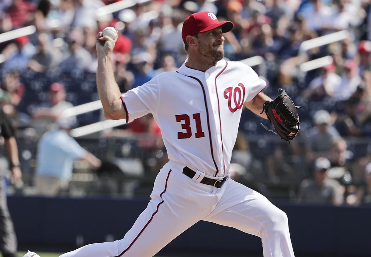 4acb181c9 Washington Nationals starting pitcher Max Scherzer (31) throws in the first  inning during an