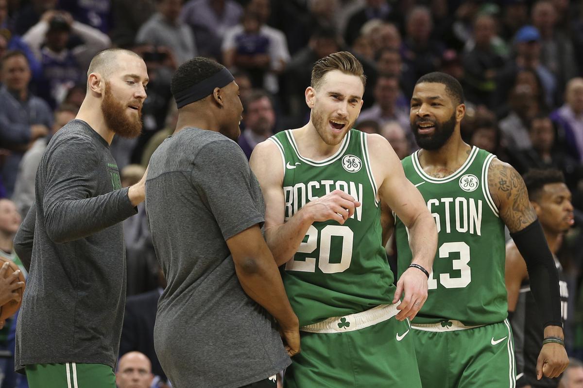 big sale f07d6 db30e Boston Celtics forward Gordon Hayward, second from right, celebrates with  teammates after the Celtics