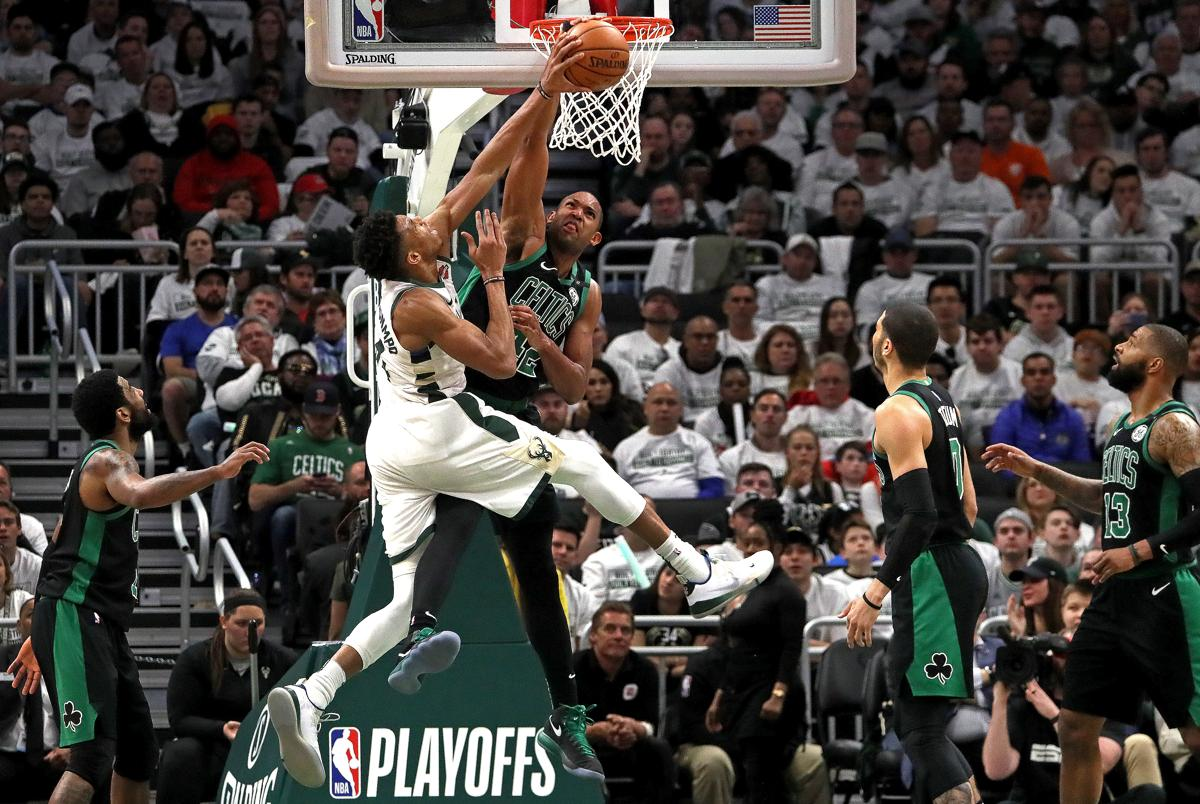 Milwaukee, WI - 4/28/2019 - (3rd quarter) Boston Celtics center Al Horford (42) blocks the shot attempt by Milwaukee Bucks forward Giannis Antetokounmpo (34) during the third quarter. The Milwaukee Bucks host the Boston Celtics in Game 1 of the Eastern Conference NBA Semi-Finals at Fiserv Forum. - (Barry Chin/Globe Staff), Section: Sports, Reporter: Adam Himmelsbach, Topic: 29Celtics-Bucks, LOID: 8.5.1108988016.