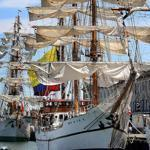 The tall ships arrived Saturday morning in Boston Harbor and docked at the Fish Pier.