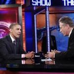 "President Obama with Jon Stewart during an October appearance on ""The Daily Show."""