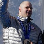 Steven Holcomb (left) piloted the US four-man sled to a         third-place finish. It was his second medal in Sochi, as it was         for Melrose's Steve Langton (second from right).