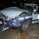 This State Police cruiser struck a Honda Pilot last year, injuring the Chelmsford couple inside.