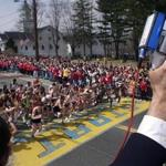 Walter Brown of the Boston Athletic Association starts the race as elite runners leave the starting line at the start of the 105th running of the Boston Marathon Monday, April 16, 2001 in Hopkinton, Mass. (AP Photo/Victoria Arocho) Library Tag 09302004 Globe West 3