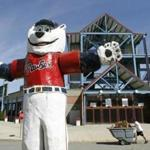 A statue of the Pawtucket Red Sox baseball team mascot