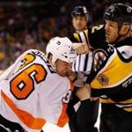 Brawlers such as former Bruin Shawn Thornton (right) are few and far between in today's NHL, which has transitioned to a speed and finesse game.