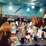 Bernie Sanders campaigned at the Airport Diner, in Manchester, N.H.