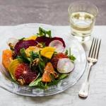 Orange and beet salad with ginger-citrus dressing