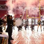 Berklee trumpeter Arnetta Johnson performing with Beyoncé at the Super Bowl.