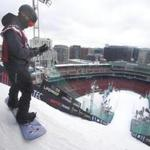 Boston, Ma-Feb. 10, 2016-Globe Staff Photo by Stan Grossfeld--Practice day for Big Air at Fenway, as viewed from the Viridian on Boylston Street.