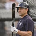 New York Yankees outfielder Jacoby Ellsbury waits his turn in the cage during batting practice before a spring training baseball game with the Tampa Bay Rays, Thursday, March 24, 2016, in Tampa, Fla. (AP Photo/Steve Nesius)