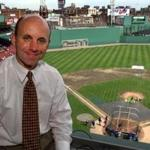5-23-99:Fenway Park, Boston:Red Sox TV broadcaster Sean McDonough inside the booth high above the field, where he and his partner Jerry Remy call the Boston home games. LIBRARY TAG 06041999 SPORTS
