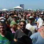 Concert-goers surrounded one of the stages at the Newport Folk Festival on Saturday.