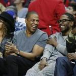 "From left: Beyoncé, Jay Z,  Kendrick Lamar, and Anthony ""Top Dawg"" Tiffith at an LA Clippers game in February."