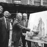 Donal Trump (left) in June 1978 with (from left) the former New York City mayor Ed Koch, former New York governor Hugh Carey, and an Urban Development Corp. executive.