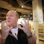 "Mario Batali speaks with a reporter last year at the Eataly food court and grocery store in the Prudential Center. In response to sexual misconduct charges, Eataly released a statement Monday saying that the allegations ""were extremely troubling to us. We fully support Mr. Batali's decision to step away from any active involvement with Eataly."""