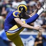 Los Angeles Rams punter Johnny Hekker (6) punts the ball during the first half an NFL football game against the Seattle Seahawks at the Los Angeles Memorial Coliseum, Sunday, Sept. 18, 2016, in Los Angeles. (AP Photo/Kelvin Kuo)