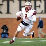 WINSTON-SALEM, NC - NOVEMBER 26: Quarterback Patrick Towles #8 of the Boston College Eagles runs for several yards during a quarterback keeper in the second quarter of an NCAA football game against the Wake Forest Demon Deacons on November 26, 2016 at BB&T Field in Winston-Salem, North Carolina. (Photo by Brian Blanco/Getty Images)