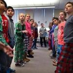 Watertown-12/09/2016- The Kingian Nonviolence Training program was held for 5th grade students at the Lowell Elementary School. Students from the Watertown Middle School visited the clasrrom as Kingian trainers. The Lowell 5th graders line up with their partners as they recieve instruction during a role playing session. John Tlumacki/Globe Staff (metro)