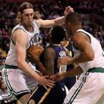 Boston, MA - 3/22/2017 - (4th quarter) Boston Celtics center Kelly Olynyk (41) is all over Indiana Pacers guard Aaron Brooks (00) on this play in the fourth quarter. The Boston Celtics host the Indiana Pacers at TD Garden. - (Barry Chin/Globe Staff), Section: Sports, Reporter: Adam Himmelsbach, Topic: 23Celtics-Pacers, LOID: 8.3.1978139473.