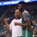 Jaylen Brown spoke with Boston Celtics' assistant coach Micah Shrewsberry during an NBA Summer League basketball game last July.