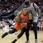 Thunder guard Russell Westbrook was fouled by Rockets guard James Harden during the first half.