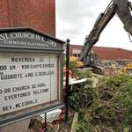 MALDEN, MA - 5/11/2017:A sign from the First CongregationalChurch in Malden. Crews have begun demolition on the old police station and City Hall, with an old church coming next. (David L Ryan/Globe Staff Photo) SECTION: REGIONAL TOPIC 21nomalden