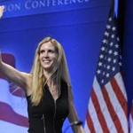 FILE - In this Feb. 12, 2011 file photo, Ann Coulter waves to the audience after speaking at the Conservative Political Action Conference (CPAC) in Washington. University of California, Berkeley students who invited Coulter to speak on campus filed a lawsuit Monday April 24, 2017, against the university, saying it is discriminating against conservative speakers and violating students' rights to free speech. Campus Republicans invited Coulter to speak at Berkeley on April 27, but Berkeley officials informed the group that the event was being called off for security concerns. (AP Photo/Cliff Owen, File)
