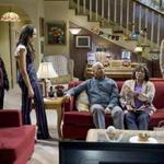 "From left: Milton ""Lil Rel"" Howery, Amber Stevens West, David Alan Grier, Loretta Devine, and Jerrod Carmichael in NBC's ""The Carmichael Show."""