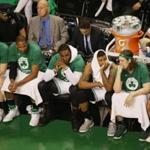 BOSTON, MA - MAY 25: The Boston Celtics bench reacts in the second half during Game Five of the 2017 NBA Eastern Conference Finals against the Cleveland Cavaliers at TD Garden on May 25, 2017 in Boston, Massachusetts. NOTE TO USER: User expressly acknowledges and agrees that, by downloading and or using this photograph, User is consenting to the terms and conditions of the Getty Images License Agreement. (Photo by Adam Glanzman/Getty Images)