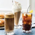 From left: Greek-style iced coffee (frappe), German-style iced coffee (eiskaffee), and Portuguese-style iced coffee with lemon (mazagran).