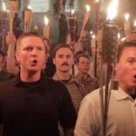 18nestornazi -Matthew Colligan, (mustache,) marches with Members of the Alt-Right led a torch march through the grounds of the University of Virginia in Charlottesville Friday night. (Andrew Shurtleff / Daily Progress)