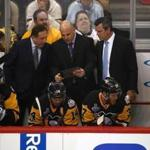 PITTSBURGH, PA - JUNE 08: The Pittsburgh Penguins coaching staff uses an iPad against the Nashville Predators during the first period in Game Five of the 2017 NHL Stanley Cup Final at PPG PAINTS Arena on June 8, 2017 in Pittsburgh, Pennsylvania. (Photo by Gregory Shamus/Getty Images)