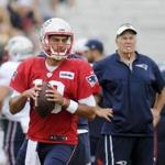 New England Patriots quarterback Jimmy Garoppolo (10) looks to pass during a joint practice with the NFL football team Houston Texans on Tuesday, Aug. 15, 2017 in White Sulphur Springs, W.Va. (AP Photo/Chris Jackson)