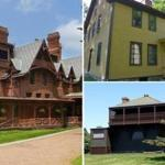 The Mark Twain House (left), Herman Melville's Arrowhead (top right), and the Winslow Homer Studio.