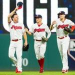 CLEVELAND, OH - AUGUST 24: Outfielders Jay Bruce #32, Brandon Guyer #6 and Bradley Zimmer #4 of the Cleveland Indians celebrate after the Indians defeated the Boston Red Sox at Progressive Field on August 24, 2017 in Cleveland, Ohio. The Indians defeated the Red Sox 13-6. (Photo by Jason Miller/Getty Images)