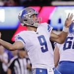 Detroit Lions quarterback Matt Stafford (9) throws a pass during the first half of an NFL football game against the New York Giants Monday, Sept. 18, 2017, in East Rutherford, N.J. (AP Photo/Julio Cortez)