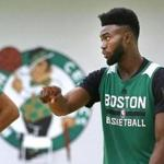 Waltham-06/30/2017- The Boston Celtics held a summer league at their practice facility. Jayson Tatum(left) and Jaylen Brown chat during a drill. John Tlumacki/The Boston Globe(sports)