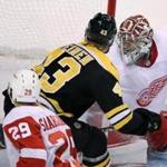 Boston, MA: September 19, 2017: The Bruins Danton Heinen best Detriot goalie Jared Coreau for a second period goal that put Boston ahead 2-0. The Boston Bruins hosted the Detroit Red Wings in an NHL pre season hockey game at the TD Garden. (Jim Davis/Globe Staff).