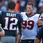 Foxborough, MA: September 24, 2017: Patriots quarterback Tom Brady (left) and Texans DL J.J. Watts (right) shake hands after the game. The New England Patriots hosted the Houston Texans in a regular season NFL football game at Gillette Stadium. (Jim Davis/Globe Staff).