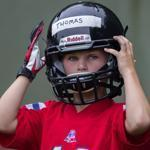 Wellesley, Ma- August 14, 2017-Stan Grossfeld/Globe Staff- --Mekhi Martin of the Wellesley Junior Raiders youth football team during preseason practice.