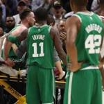 CLEVELAND, OH - OCTOBER 17: Kyrie Irving #11 of the Boston Celtics consoles Gordon Hayward #20 after Hayward was injured while playing the Cleveland Cavaliers at Quicken Loans Arena on October 17, 2017 in Cleveland, Ohio. NOTE TO USER: User expressly acknowledges and agrees that, by downloading and or using this photograph, User is consenting to the terms and conditions of the Getty Images License Agreement. (Photo by Gregory Shamus/Getty Images)