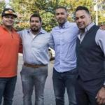 Boston police officers Richard Diaz (left), Izzy Marrero, David Hernandez, and Eliseo Marrero were among the members of the department who recently returned from a relief trip to Puerto Rico.