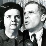 Louise Day Hicks and Kevin White met before a debate on Oct. 30, 1967.