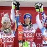 Second-placed Mikaela Shiffrin (L) of the United States, winner Petra Vlhova of Slovakia and third-placed Wendy Holdener of Switzerland celebrate on the podium after the Ladies' FIS Alpine Ski World Cup slalom race in Levi, Kittilae, Finland, on November 11, 2017. / AFP PHOTO / Lehtikuva / Vesa Moilanen / Finland OUTVESA MOILANEN/AFP/Getty Images