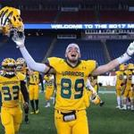 Foxborough-12/1/17- Division 2 superbowl- Lincoln-Sudbury vs King Philip- King Philip's Jack Piller celebrates the superbowl win. John Tlumacki/Globe Staff(sports)
