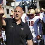 LOUISVILLE, KY - OCTOBER 14: Head coach Steve Addazio of the Boston College Eagles takes his team to the field before a game against the Louisville Cardinals at Papa John's Cardinal Stadium on October 14, 2017 in Louisville, Kentucky. (Photo by Joe Robbins/Getty Images)