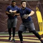 CHESTNUT HILL, MA- January 17, 2018: Michael Chavis, right, and Josh Ockimey workout during the Red Sox rookie development program at Boston College Alumni Stadium in Chestnut Hill , MA on January 17, 2018. (Craig F. Walker/Globe staff photo) section: sports reporter: