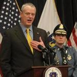 Boston, MA., 04/02/18, Governor Charlie Baker, left, and Massachusetts State Police Colonel Kerry Gilpin held a press conference at the State House to announce a series of reforms to policies and procedures at the Massachusetts State Police. Suzanne Kreiter/Globe staff